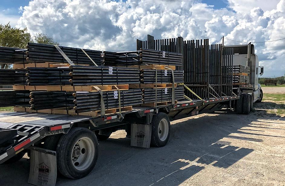 Steel Pipe Fence Braces on Semi-Truck for Shipping